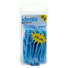 Idento Floss and Stick 2 in 1 - 55 stk - Blå