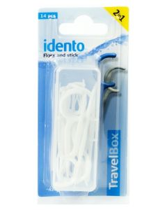Idento Floss and Stick, TravelBox 14 stk (hvid)