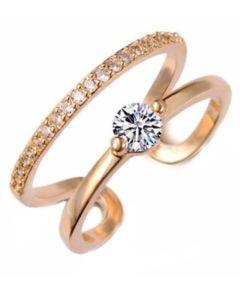 Everneed Monique - guld dobbelt ring med sten