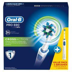 Oral B - Braun Pro 690 3D CrossAction Dobbeltpack 2 Maskiner + 2 børster