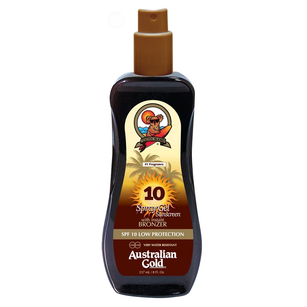Australian Gold Spray Gel Sunscreen SPF 10 Bronzer 237 ml